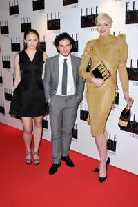 Sophie Turner, Kit Harington and Gwendoline Christie at the Elle Style Awards in London.