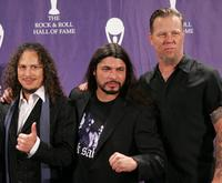 Kirk Hammett, Robert Trujillo and James Hetfield at the 21st Annual Rock And Roll Hall Of Fame Induction Ceremony.