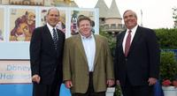 Michael Eisner, George Wendt and John E. Potter at the ceremony honoring Mickey Mouse and friends on new stamps, postal cards and stationery.