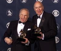 Mel Brooks and Carl Reiner at the Shrine Auditorium in Los Angeles with their Grammy Awards for Best Spoken Comedy Album