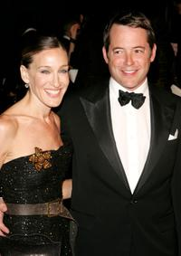 Matthew Broderick and Sarah Jessica Parker at the Ralph Lauren 2008 Fashion Show during Mercedes-Benz Fashion Week Spring 2008.