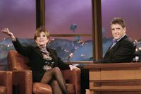 Carrie Fisher and host Craig Ferguson during segment of The Late Late Show With Craig Ferguson.
