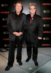 Eric Idle and Sir Elton John at the Foxtel Is Football Foxtel and FFA hosted party.