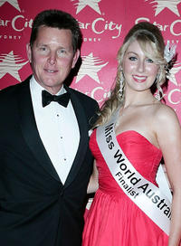 Tom Burlinson and Guest at the official crowning of Miss World Australia 2009.
