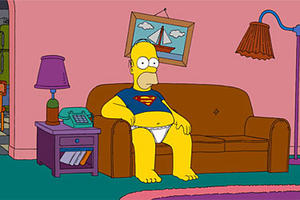 "The 2-D Homer Simpson in ""The Simpsons Movie."""