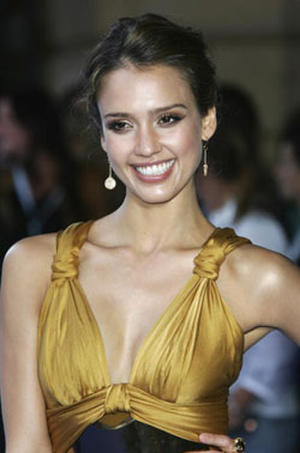 """""""Fantastic Four: Rise of the Silver Surfer"""" star Jessica Alba at the London premiere."""