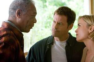 "Morgan Freeman, Greg Kinnear and Radha Mitchell in ""Feast of Love."""