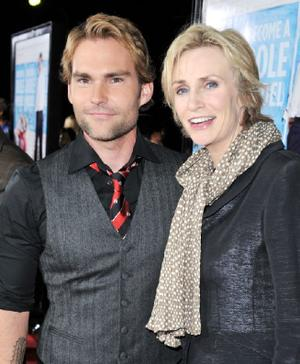 "Seann William Scott and Jane Lynch at the California premiere of ""Role Models."""