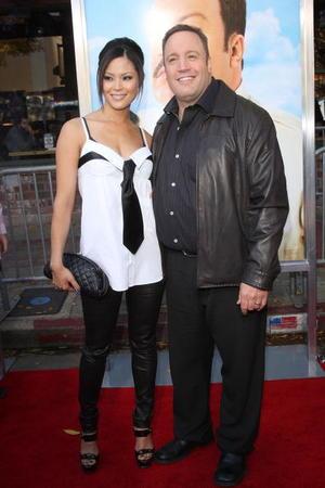 "Steffiana De La Cruz and Kevin James at the California premiere of ""Paul Blart: Mall Cop."""