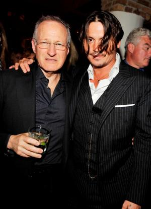 "Director Michael Mann and Johnny Depp at the after party of the Illinois premiere of ""Public Enemies."""