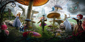 """A scene in  """"Alice in Wonderland."""""""