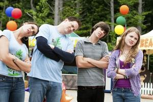 "Brooke Shields, Brendan Fraser, Matt Prokop and Skyler Samuels in ""Furry Vengeance."""