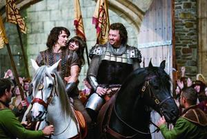James Franco as Fabious, Zooey Deschanel as Belladonna, and Danny McBride as Thadeous in `` Your Highness.''