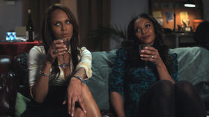 "Nicole Ari Parker as Zenobia, Dondre Whitfield as Austin and Tamala Jones as Victoria in ""35 & Ticking."""