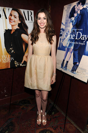 "Anne Hathaway at the New York premiere of ""One Day."""