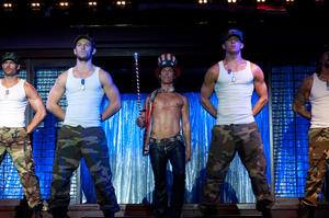 "Alex Pettyfer as Adam, Matthew Mcconaughey as Dallas and Channing Tatum as Mike Martingano in ""Magic Mike."""