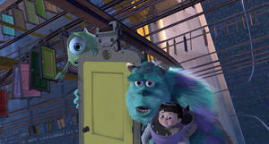 "Mike, Sulley and Boo in ""Monsters, Inc. 3D."""