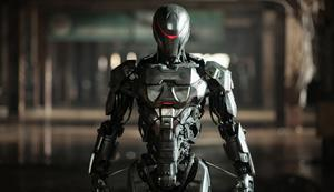 "Joel Kinnaman as RoboCop in ""RoboCop."""