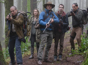 "Kirk Acevedo, Keri Russell, Jason Clarke, Kodi Smit-McPhee and Enrique Murciano in ""Dawn of the Planet of the Apes."""