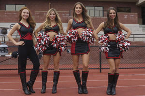 "Amanda Grace Cooper as Hanna Popkin, Brooke Butler as Tracy Bingham, Reanin Johannink as Martha Popkin and Caitlin Stasey as Maddy Killian in the horror comedy ""ALL CHEERLEADERS DIE"""