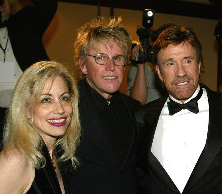 Vicki Roberts, Gary Busey and Chuck Norris at the Los Angeles Police Department Protective League's Eagle & Badge Foundation and the Tichi Wilkerson Kassel Parkinson's Foundation Gala.
