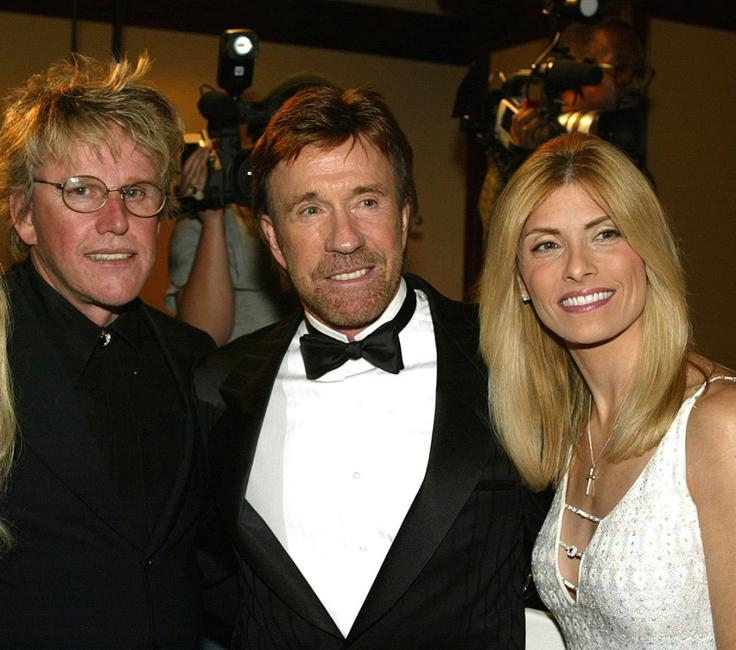 Gary Busey, Chuck Norris and Gena Norris at the Los Angeles Police Department Protective League's Eagle & Badge Foundation and the Tichi Wilkerson Kassel Parkinson's Foundation Gala.