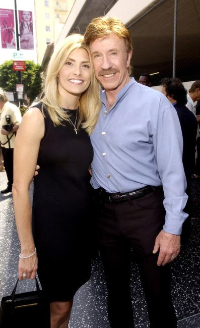 Gena Norris and Chuck Norris at the Hollywood Walk of Fame.
