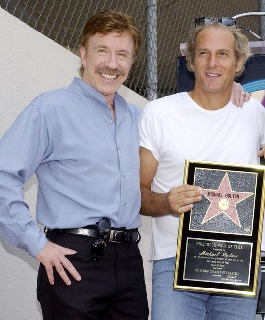 Chuck Norris and Michael Bolton at the Hollywood Walk of Fame.