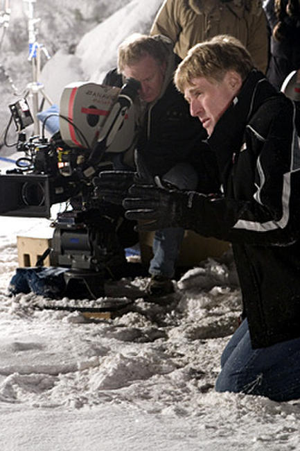 Director Robert Redford on the set of