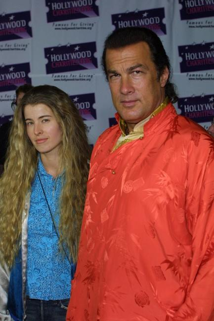 Adrienne La Russa and Steven Seagal at the America Online party to launch its 2002