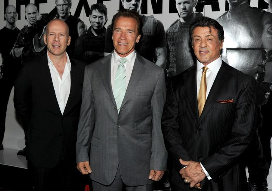 Bruce Willis, Arnold Schwarzenegger and Sylvester Stallone at the premiere of