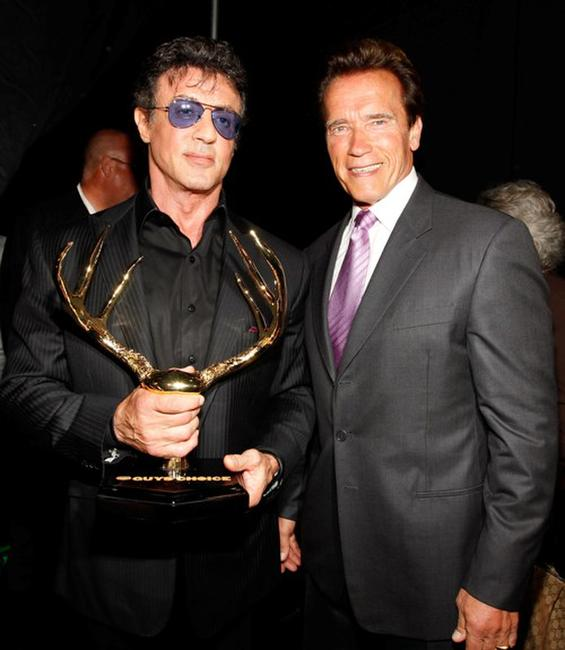 Sylvester Stallone and Arnold Schwarzenegger at the Spike TV's 4th Annual Guys Choice Awards.