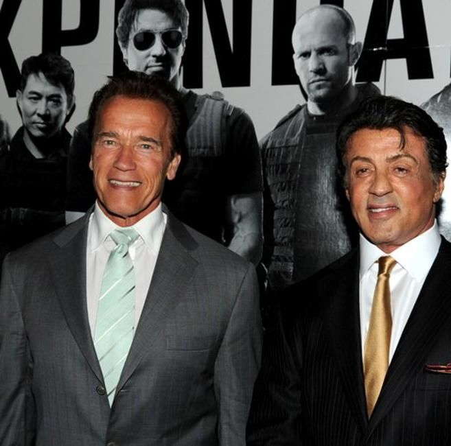Arnold Schwarzenegger and Sylvester Stallone at the California premiere of