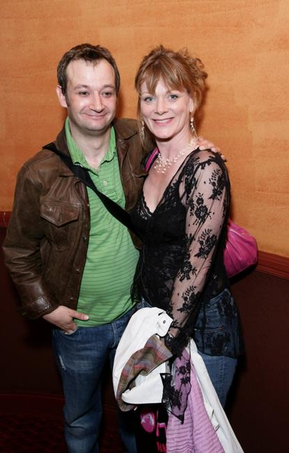 James Dreyfus and Samantha Bond at the afterparty following the 250th performance of
