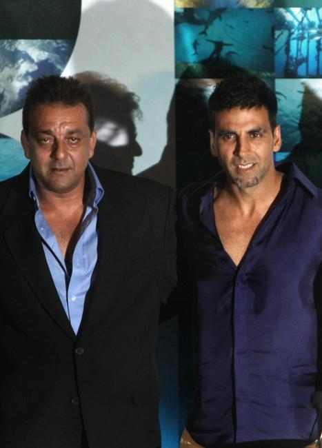 Sanjay Dutt and Akshay Kumar at the press conference of