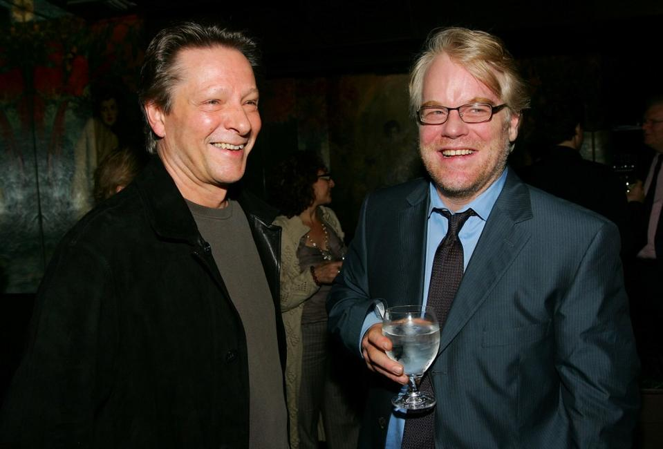 Chris Cooper and Philip Seymour Hoffman at the pre-screening dinner for the film