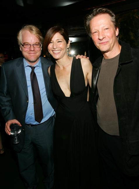Chris Cooper, Philip Seymour Hoffman and Catherine Keener at the pre-screening dinner for the film
