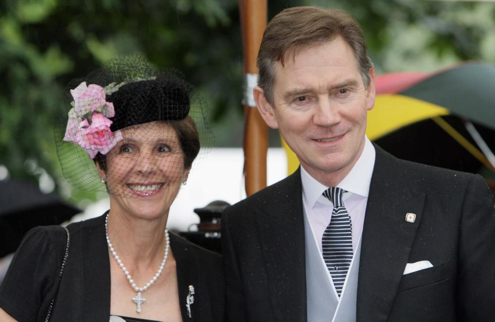 Anthony Andrews and Guest at the Sir David Frost's Summer Party.