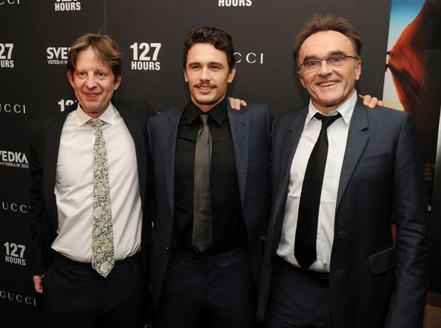 Producer Christian Colson, James Franco and Danny Boyle at the New York premiere of