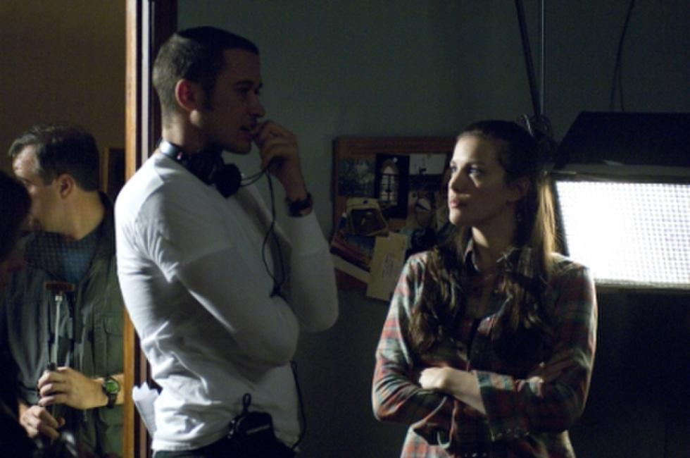 Director Bryan Bertino and Liv Tyler on the set of