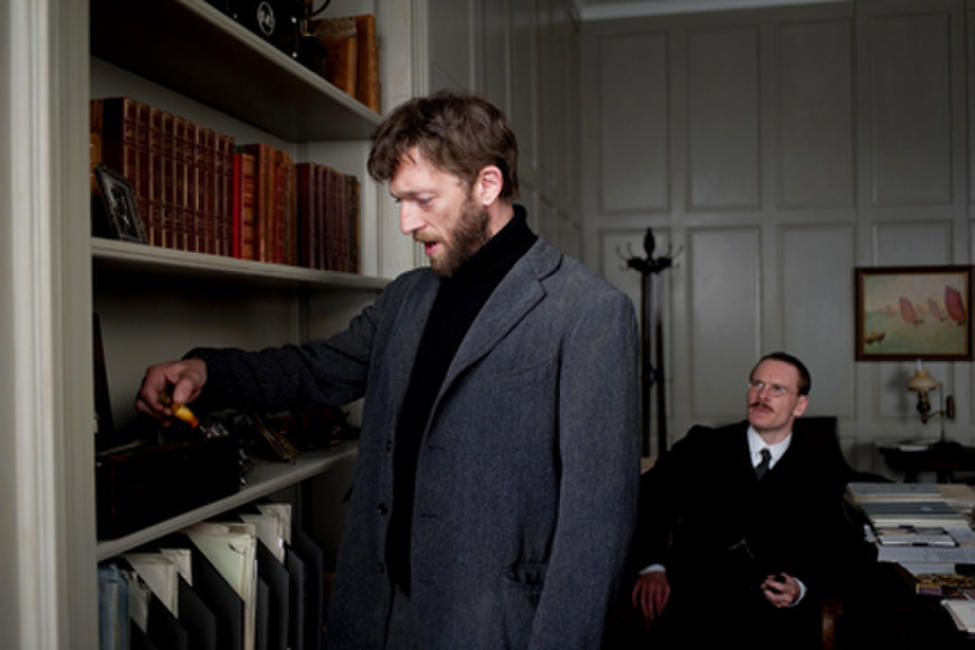 Vincent Cassel as Otto Gross and Michael Fassbender as Carl Jung in ``A Dangerous Method.''