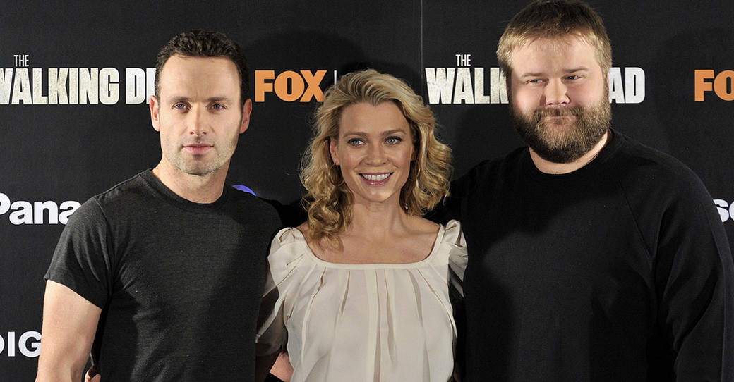 Andrew Lincoln, Laurie Holden and writer Robert Kirkman  at the photocall of