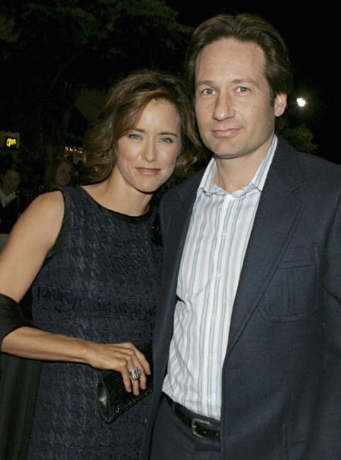 David Duchovny and Tea Leoni at the premiere of