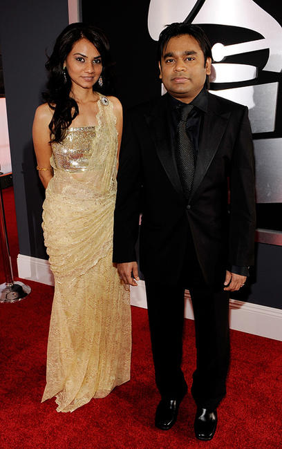 Singer Tanvi Shah and A.R. Rahman at the 52nd Annual GRAMMY Awards.