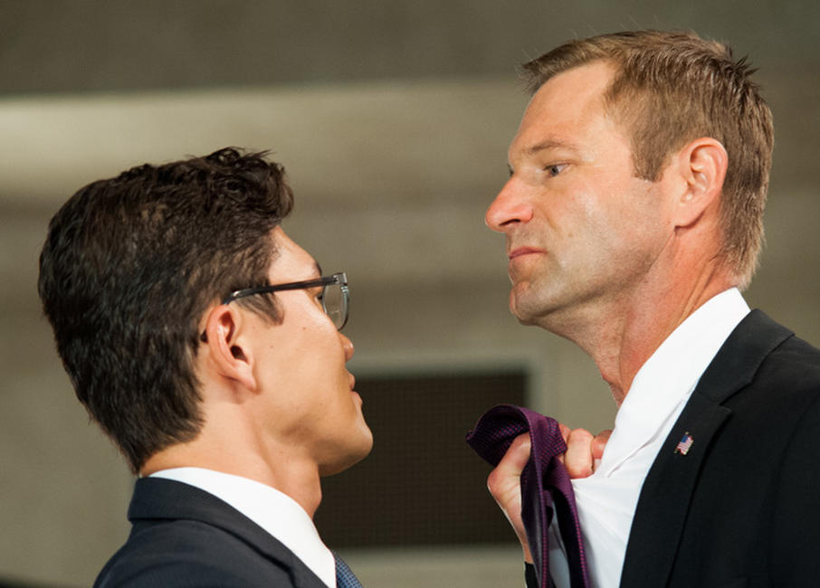 Rick Yune and Aaron Eckhart in