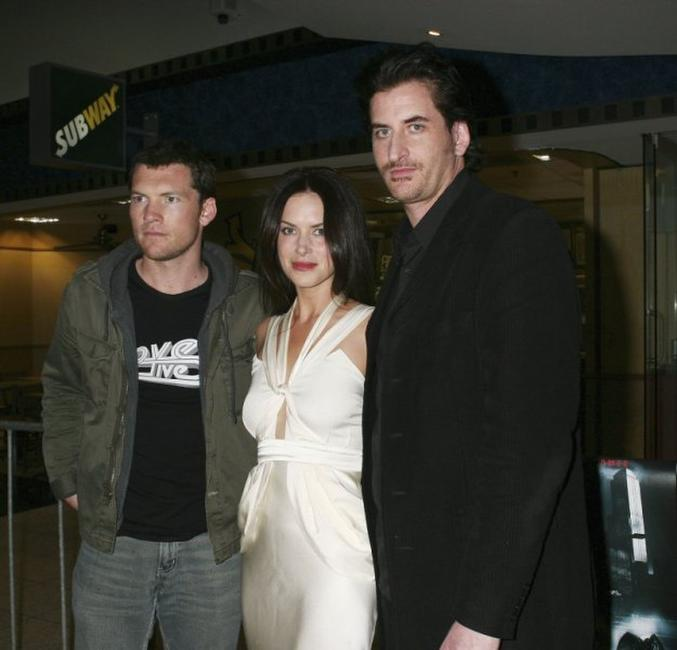Sam Worthington, Victoria Hill and Lachy Hulme at the Sydney premiere of