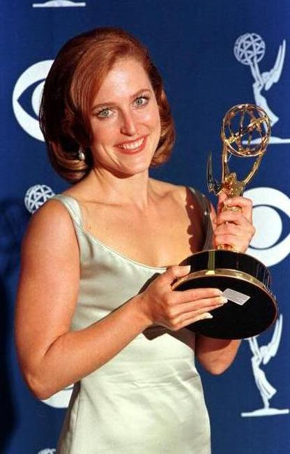Gillian Anderson at the 49th Emmy Awards.