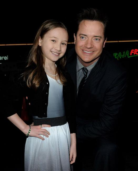 Meredith Droeger and Brendan Fraser at the California premiere of