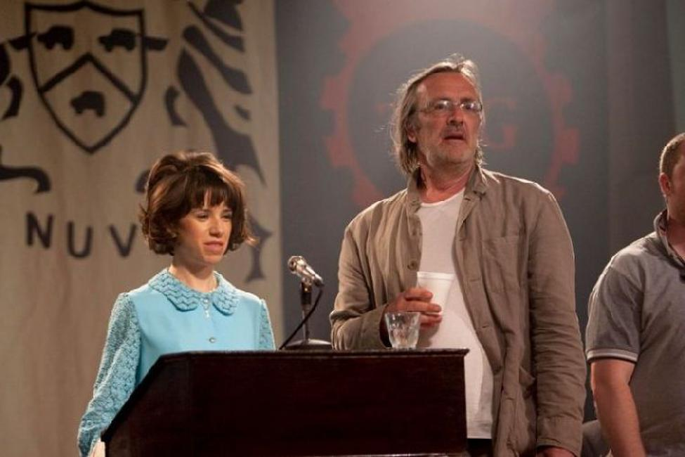 Sally Hawkins and Nigel Cole on the set of