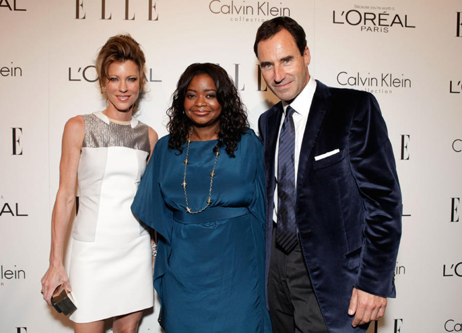 Editor-in-chief of ELLE Robbie Myers, Octavia L. Spencer and ELLE SVP chief revenue Officer Kevin O'Malley at the ELLE's 18th Annual Women in California.
